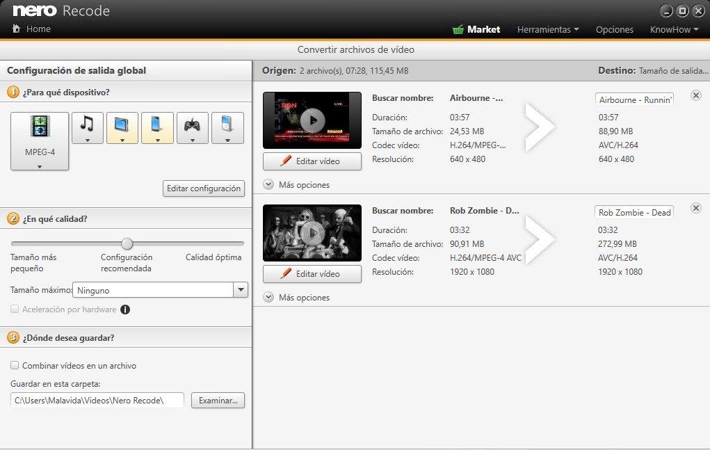 Nero Recode, para extraer vídeo y convertir su formato