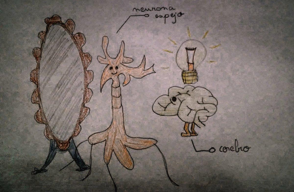 Neurona espejo dibujado por un niño de 9 años... ¡gracias Adrián!