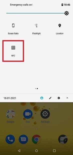 NFC en los ajustes rápidos