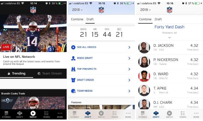 Noticias, Draft y las Combine en la app oficial de la NFL