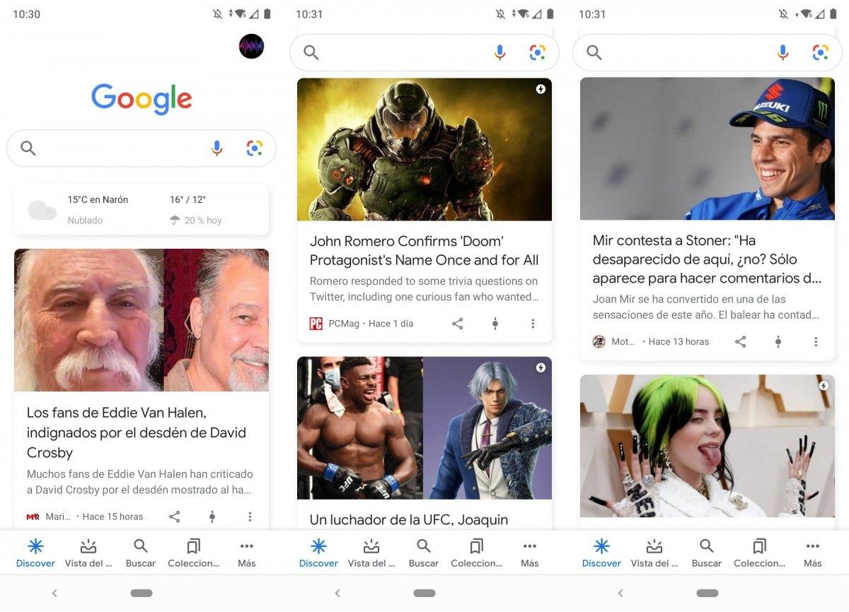 Noticias personalizadas en Google Discover