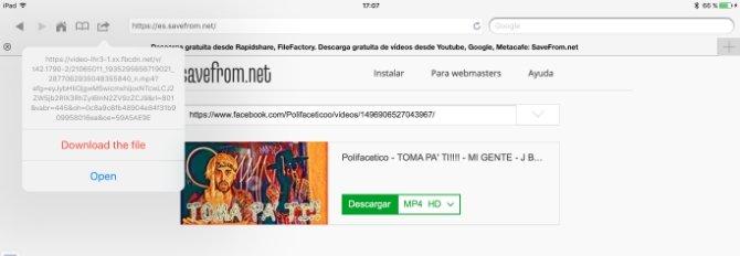 Notificación de descarga de un vídeo en MyMedia