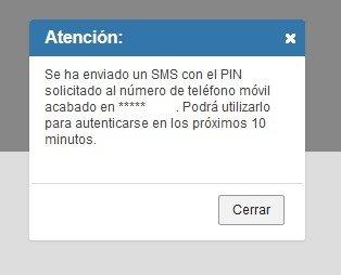 Notificación de envío de SMS al móvil del usuario