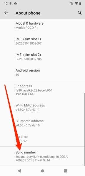 Número de compilación de software Android
