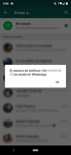 Número no presente en WhatsApp