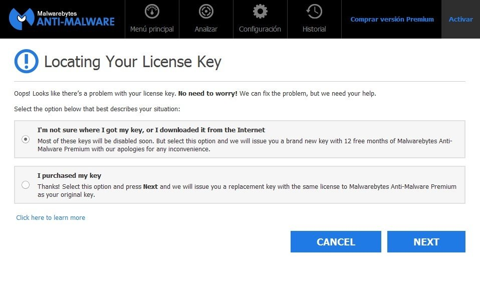 Obtención de clave en Malwarebytes Anti-Malware