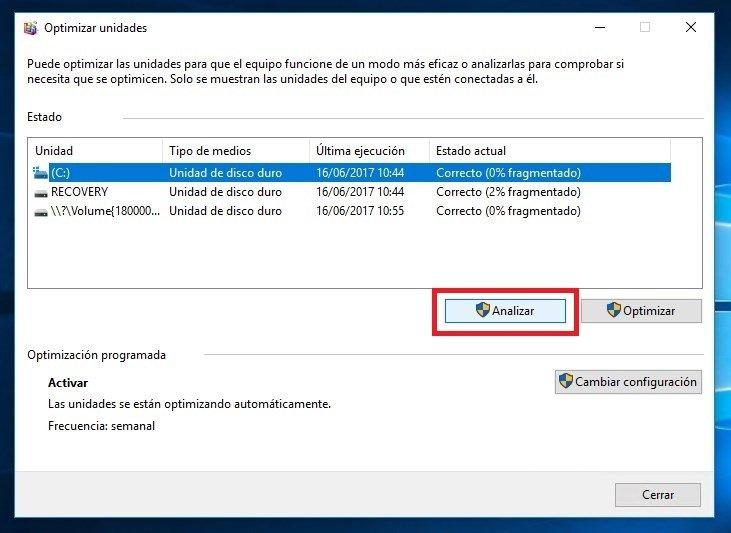 Opción 'Analizar' el disco duro en Windows 10