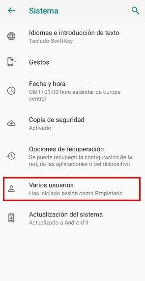 Opción de multiusuario en Android