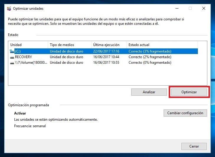 Opción 'Optimizar' para desfragmentar el disco duro