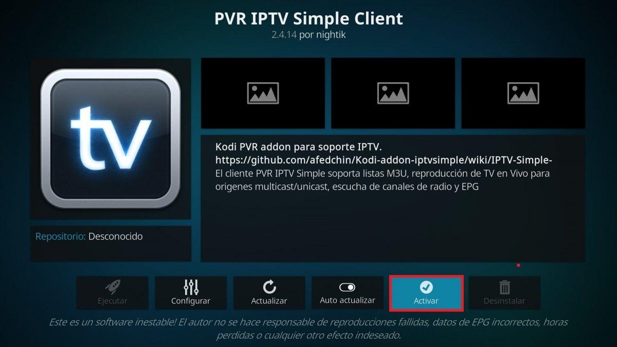 Opción para activar el plugin PVR IPTV Simple Client