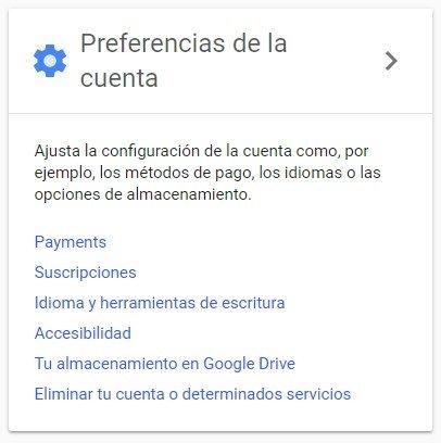 Opción para desactivar tu cuenta de Google
