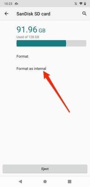 Opción para formatear la SD como almacenamiento interno