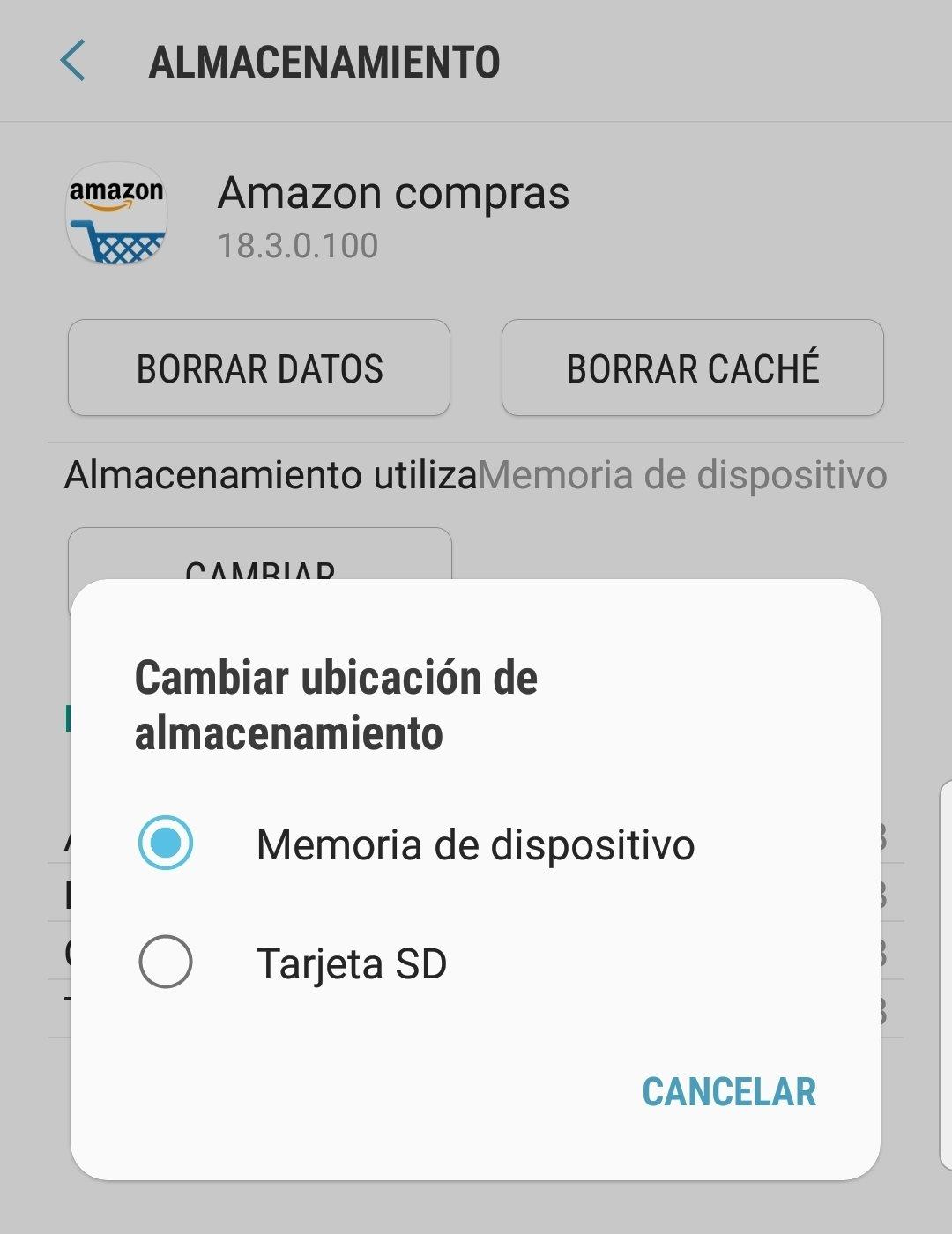 Opción para pasar parte del almacenamiento a la tarjeta SD