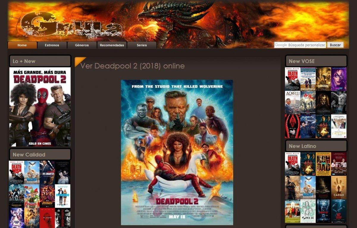Opción para ver Deadpool 2 en Gnula