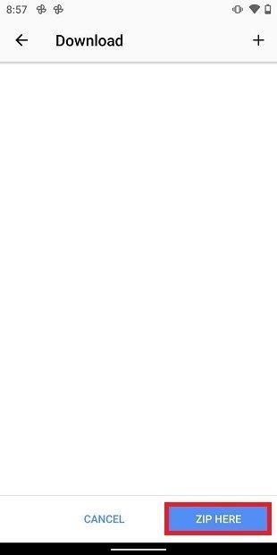 Opción Zip Here de WinRAR