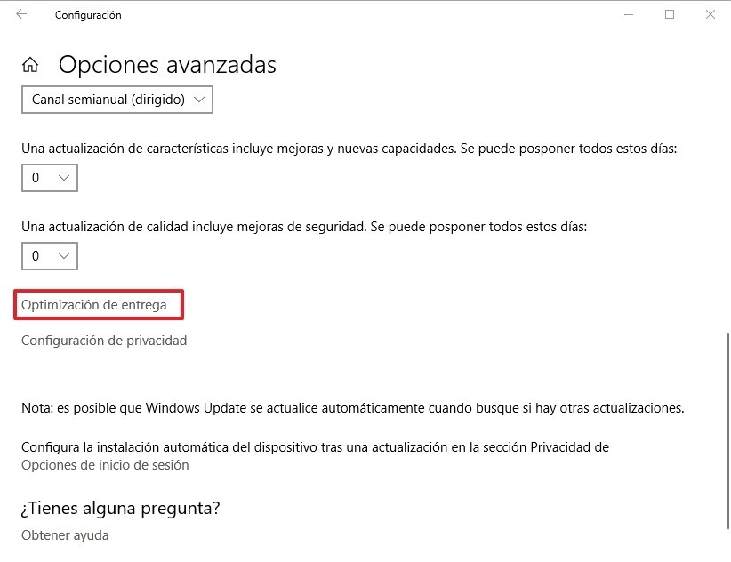 Opciones avanzadas de Windows Update