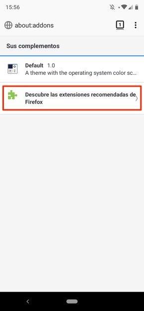 Opciones de add-ons en Firefox