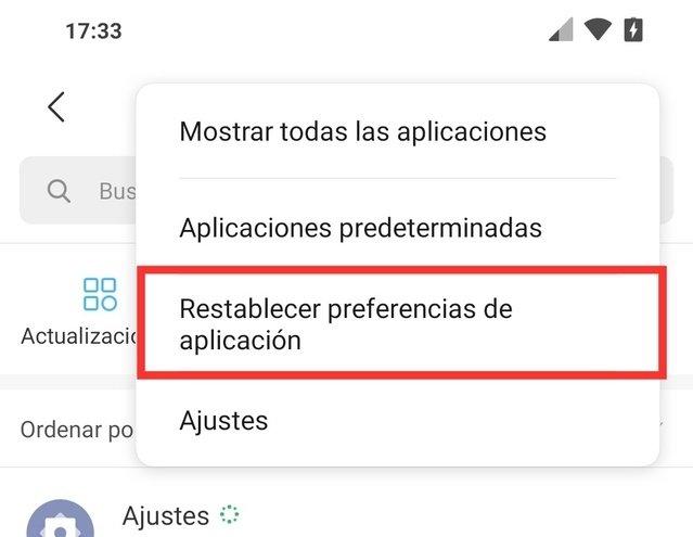 Opciones de aplicaciones