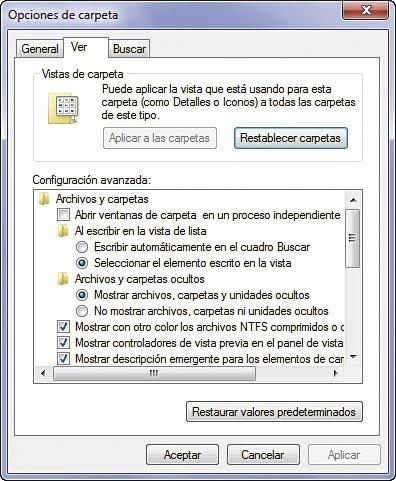 Opciones de carpeta Windows XP