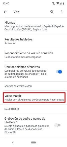 Opciones de configuración de Voz