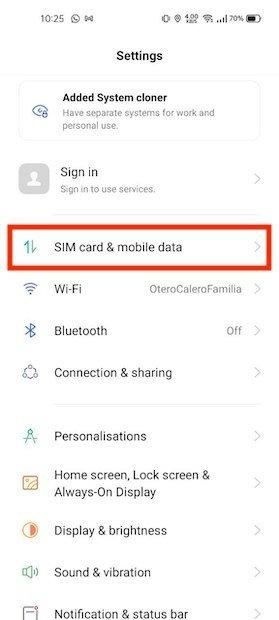 Opciones de datos móviles
