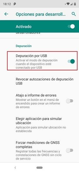 Opciones de desarrollador en Android