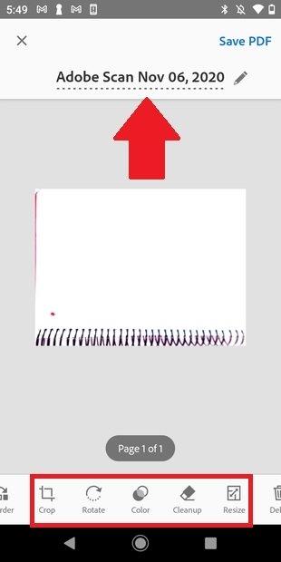 Opciones de escaneo en Adobe Scan