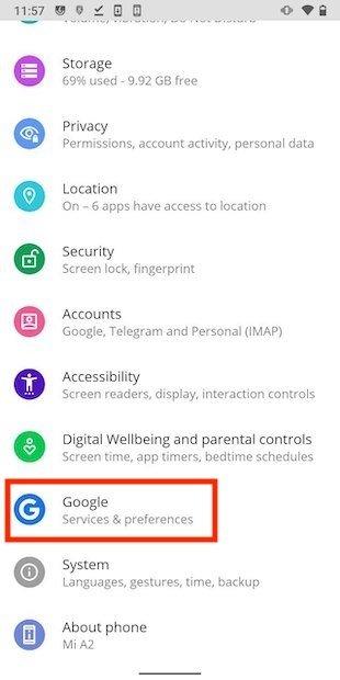 Opciones de Google