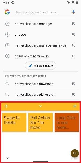Opciones de Native Clipboard Manager Android