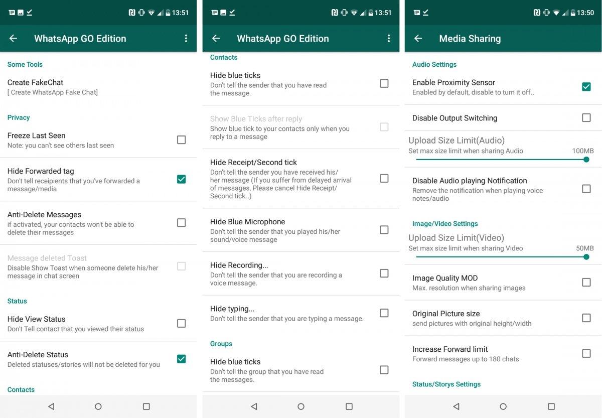 Opciones de privacidad y mutlimedia de WhatsApp Go