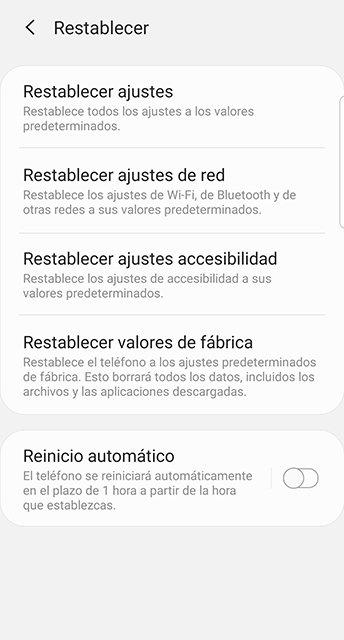 Opciones de restablecimiento de Android