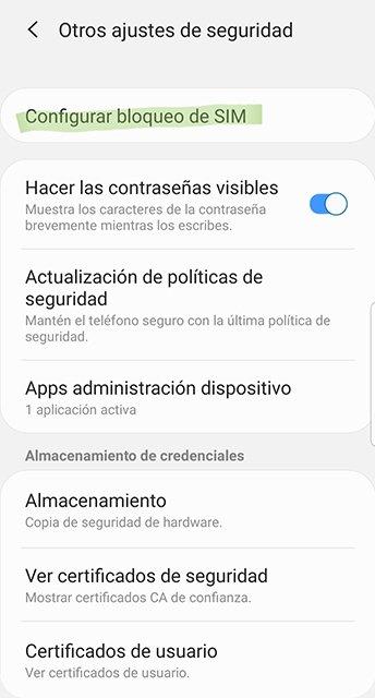 Opciones de seguridad en Android