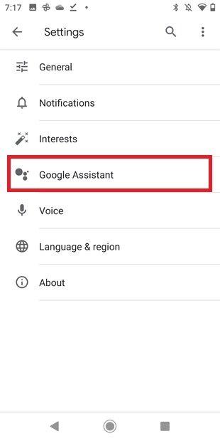 Opciones del asistente de Google