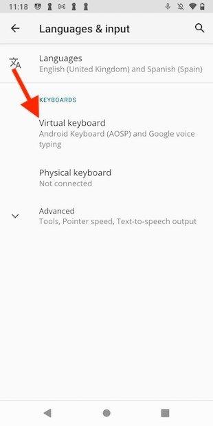 Opciones del teclado virtual