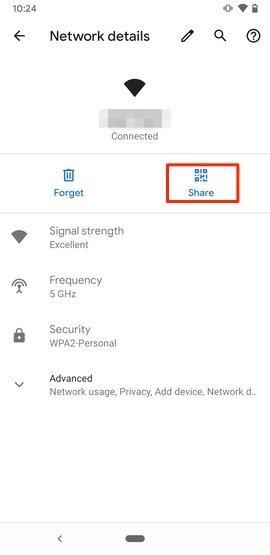 Opciones para compartir la red WiFi en Android 10