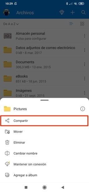 Opciones para compartir un archivo de OneDrive