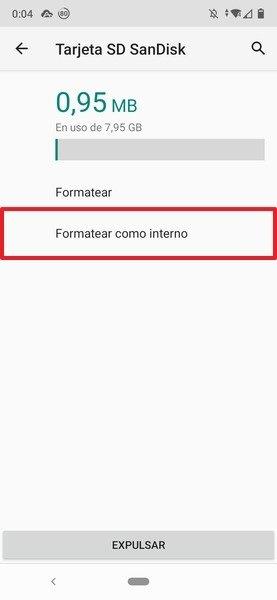 Opciones para formatear la tarjeta SD como almacenamiento interno