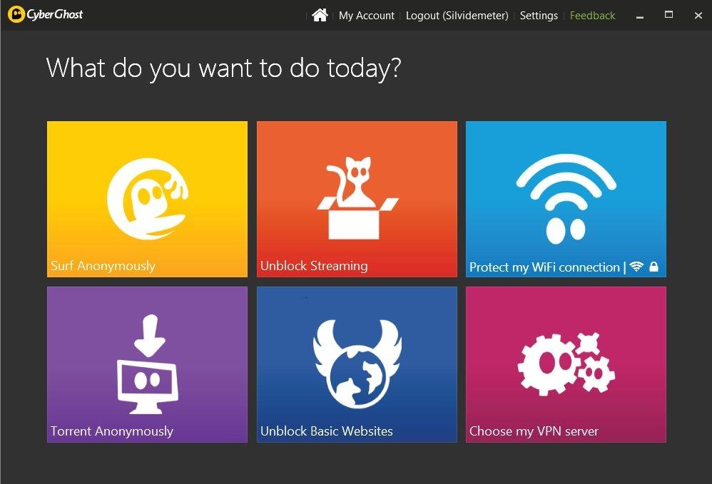 Opciones principales de Cyberghost VPN