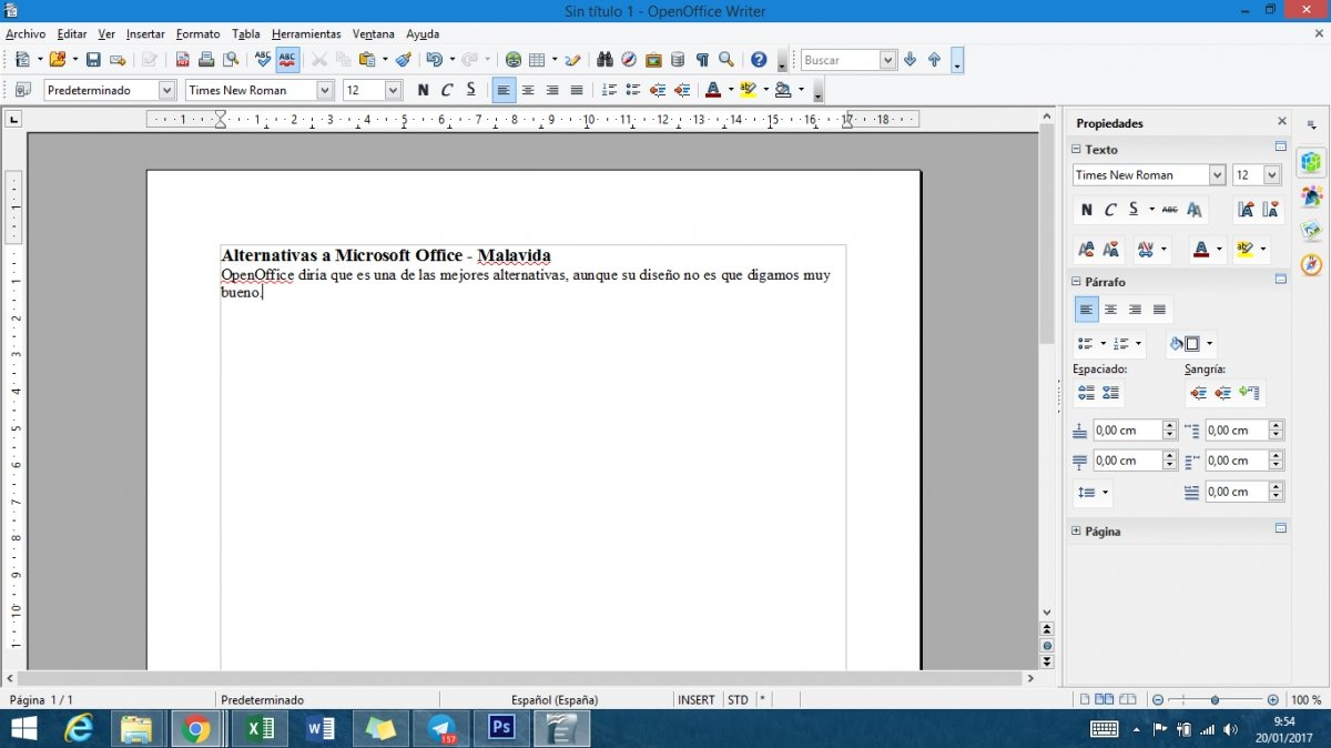 OpenOffice Writer funcionando sobre Windows 8.1