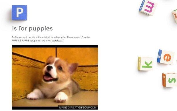 P is for Puppies, la imitación perruna de la página de Alphabet