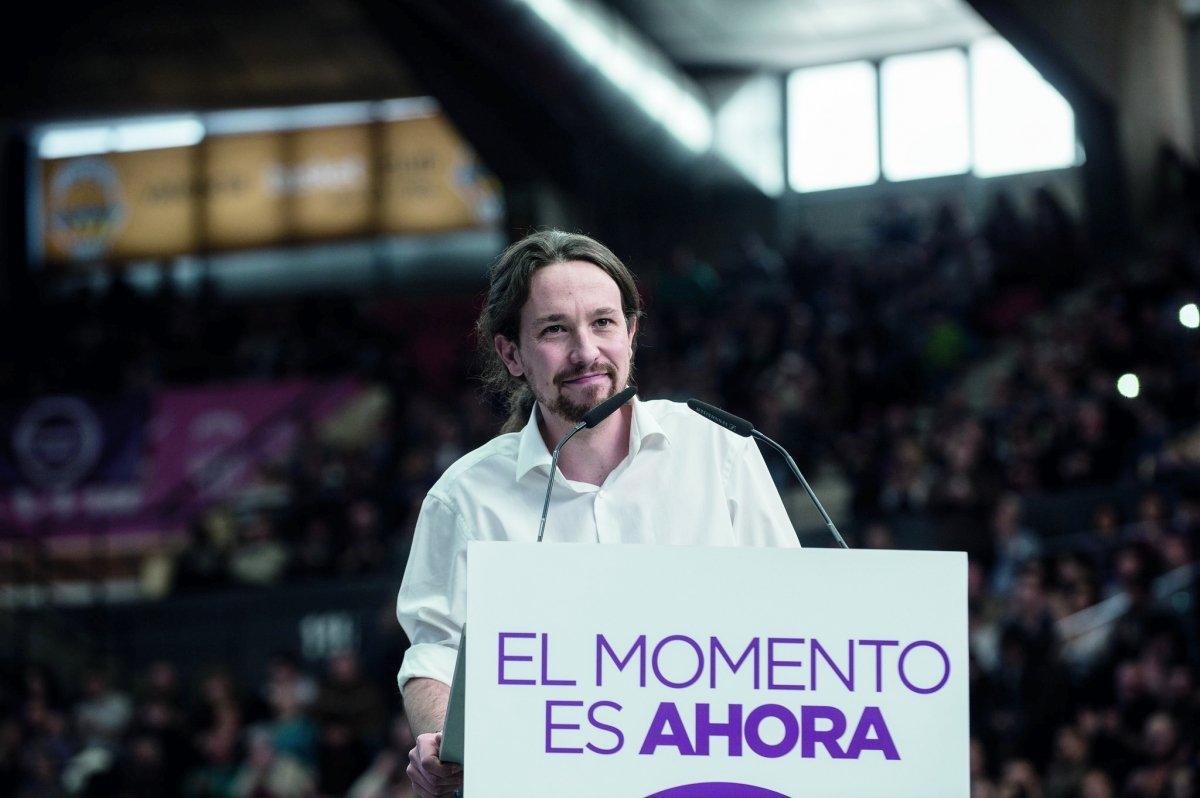 Pablo Iglesias, candidato de Podemos, en un mitin