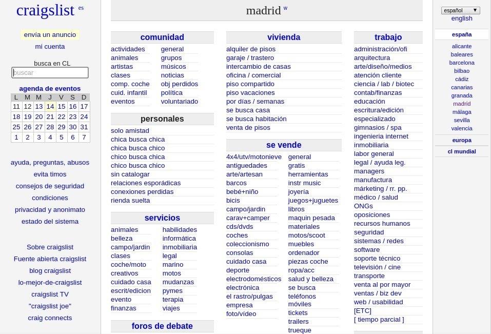 Página principal de Craigslist España