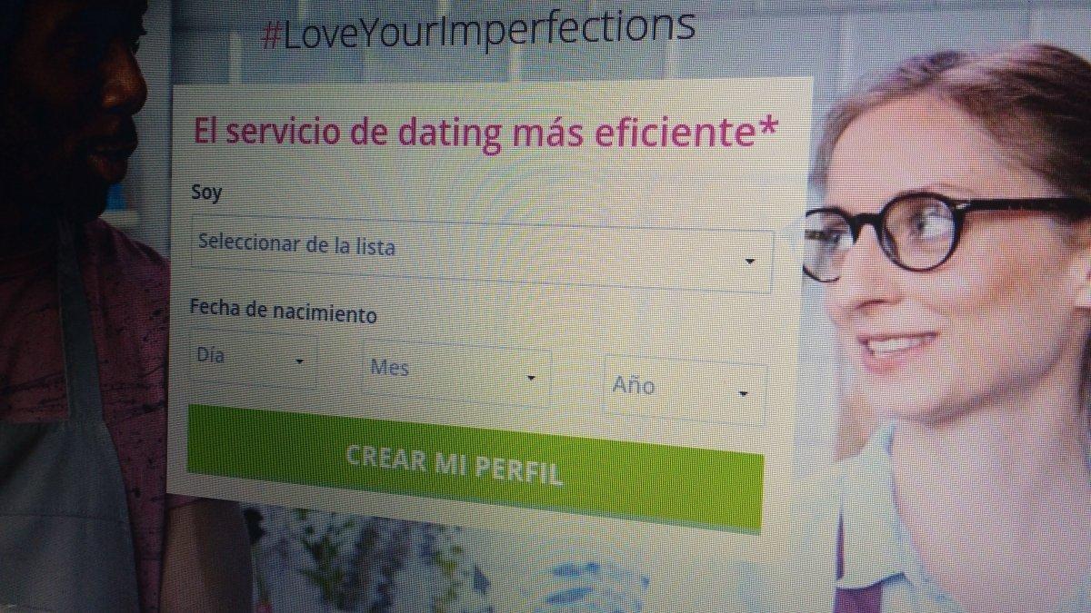 Página principal de una web de contactos para solteros