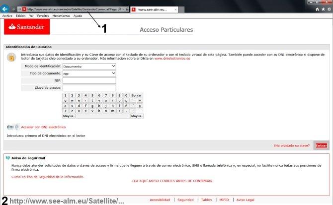 Pagina web que imita a la del Banco Santander