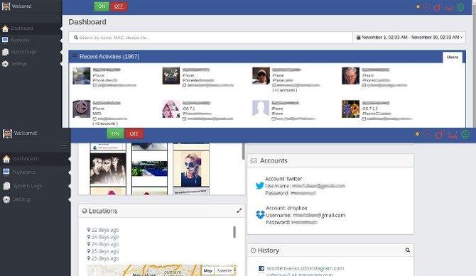 Panel de control (dashboard) de InterApp: así muestra los resultados del hackeo