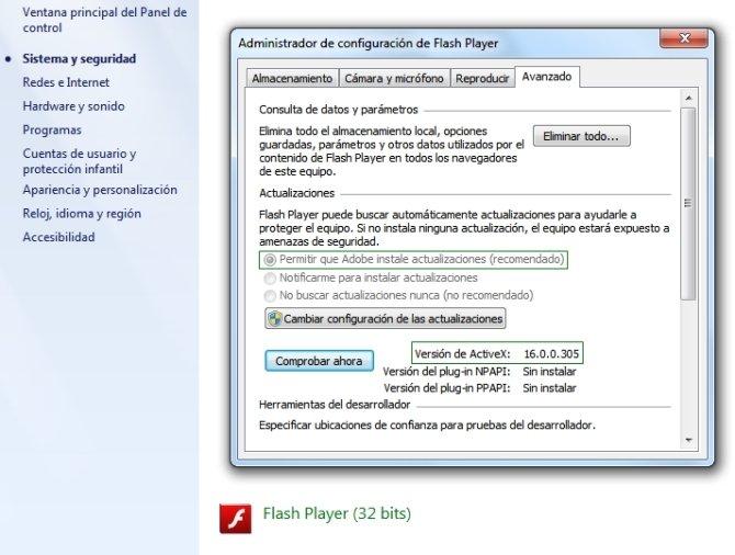 Panel de control de flash player en windows