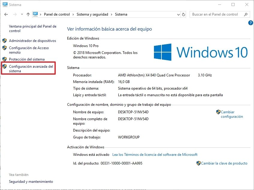 Panel de control en Windows 10