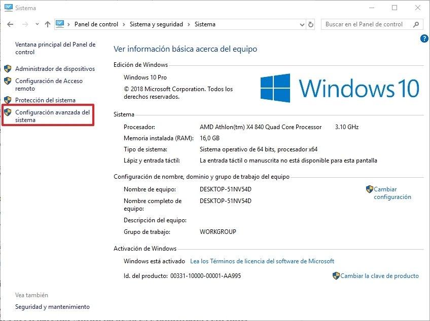 Panel de control en Windows 10