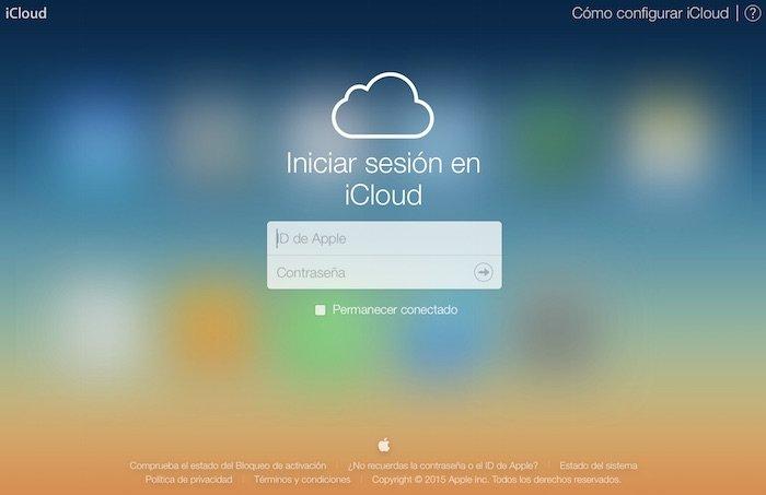 Pantalla de inicio de iCloud web