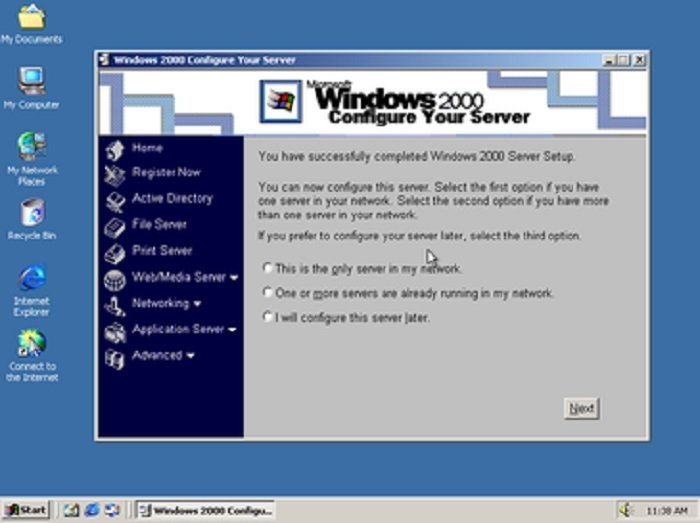 Pantalla de Inicio de Windows 2000